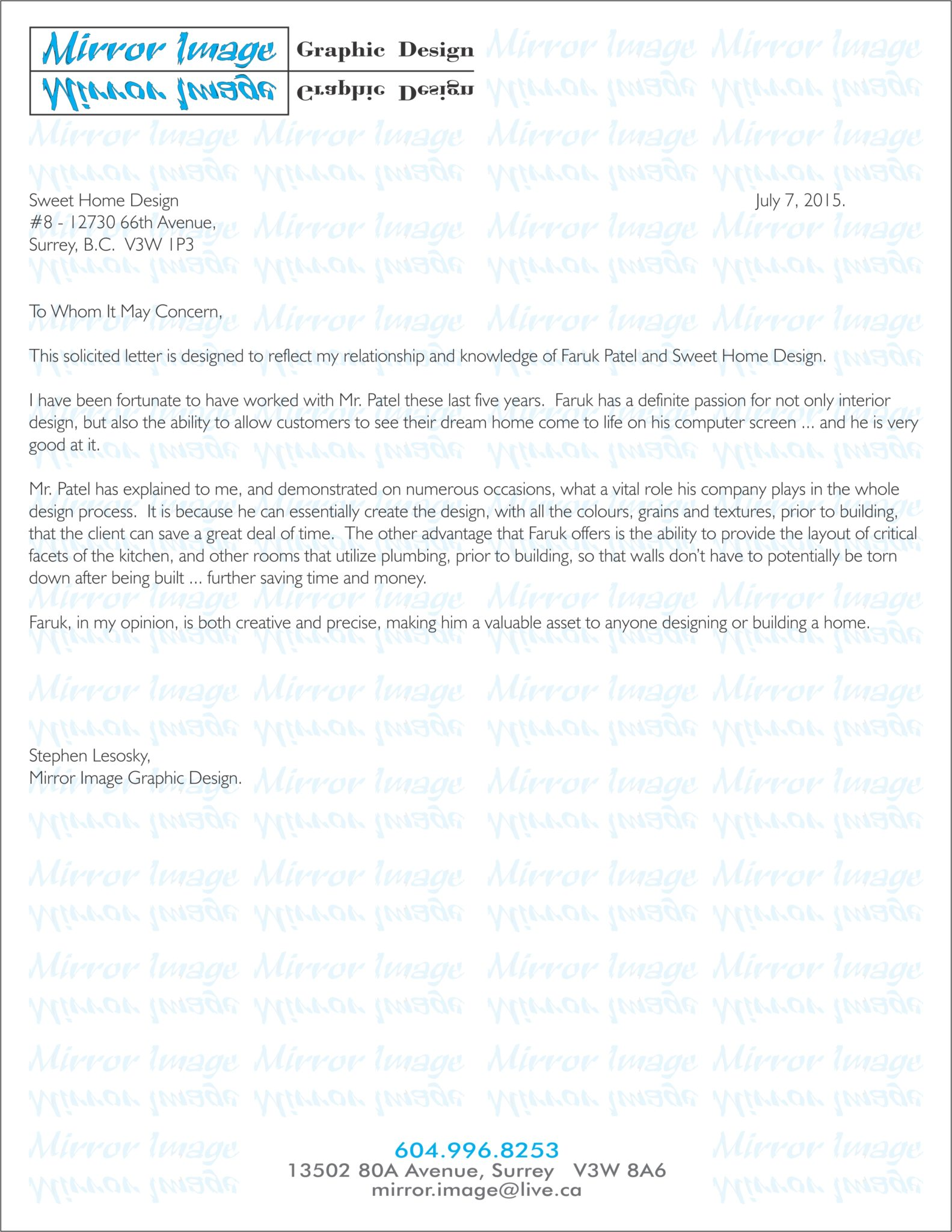Testimonials sweet home designs reference letter expocarfo Images
